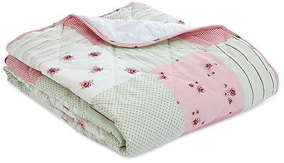 Patchwork Floral Bedspread Quilt Throw Pink Green Double Vintage Style New