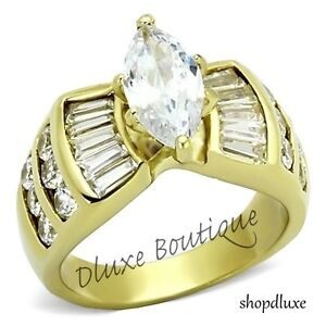 WOMEN-039-S-MARQUISE-CUT-CZ-14K-GOLD-PLATED-STAINLESS-STEEL-ENGAGEMENT-RING-SZ-5-10