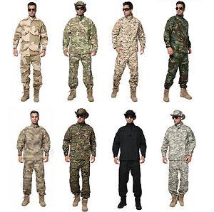 Hot-Men-Tactical-Army-Military-Combat-Camo-Camouflage-Suit-Uniform-Set-No-hat