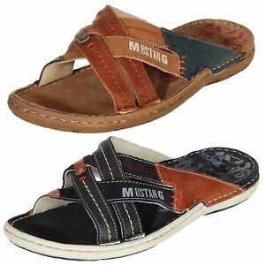 Details zu Mustang Herren Sandalen Schuhe Sommerschuhe Pantoletten Freizeit Leder 4923 702