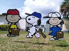 garden outdoor Charlie Brown and Lucy lawn snoopy yard TRIO art decor combo