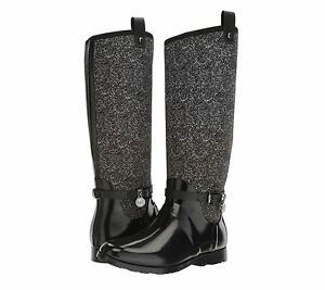 Michael-Kors-MK-CHARM-Black-White-Stretch-Tall-Rain-Boots-Shoes-Multi-Size-NIB