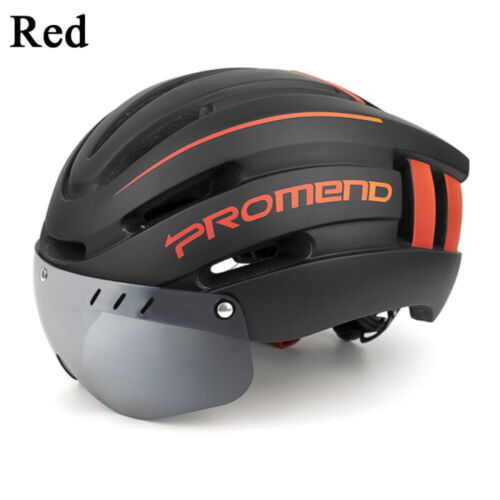 Adjustable Bicycle Cycling Helmet w// Magnetic Goggles Visor with Warning Light