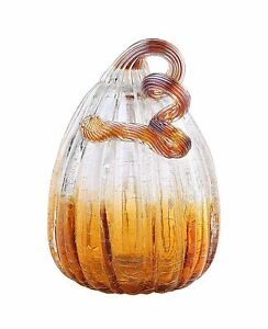 """New 8"""" Hand Blown Art Glass Crackle Pumpkin Sculpture Figurine Fall Smoke Amber"""