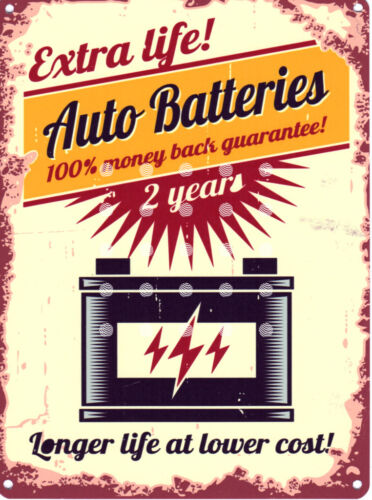 AUTO BATTERIES GARAGE METAL SIGN RETRO VINTAGE STYLE SMALL shed man cave tin