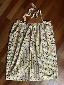 Vintage-Full-Length-Half-Apron-Mustard-Brown-Black-White-Stars-Geometric-Print-L