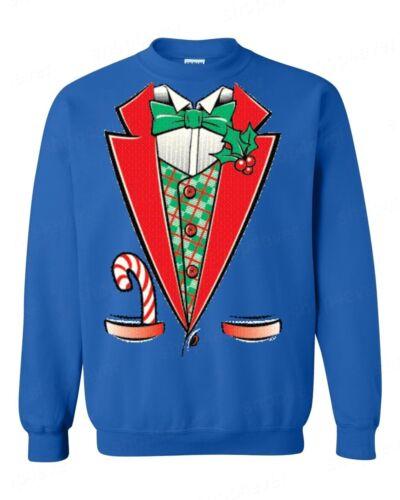 Christmas Tuxedo Mistletoe Crewneck Funny Ugly Xmas Holiday Costume Sweatshirts