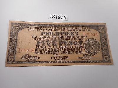 Philippines 10 Pesos 1942 P-S137 Tagbilaran Bohol Emergency Note Circulated