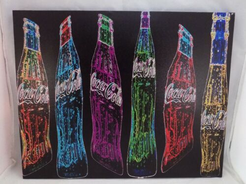 """COCA-COLA COKE BOTTLE WOODEN FRAME WALL CANVAS SIGN ART DECORATION NEW 16/"""" x 20/"""""""