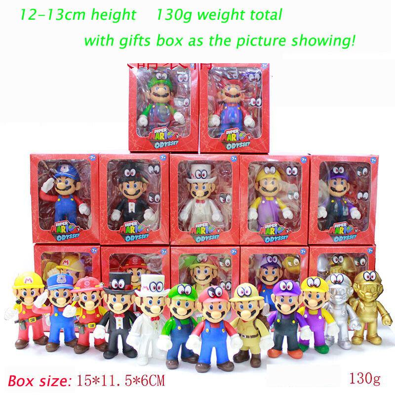 """Gifts Box+5/""""High Quality Super Mario Bros Luigi Mario Action Figures Toys 2019"""