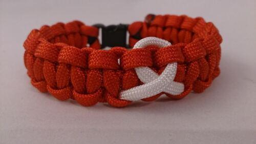 Leukaemia /& Lymphoma Research Blood Cancer Inspired Paracord 550 Bracelet
