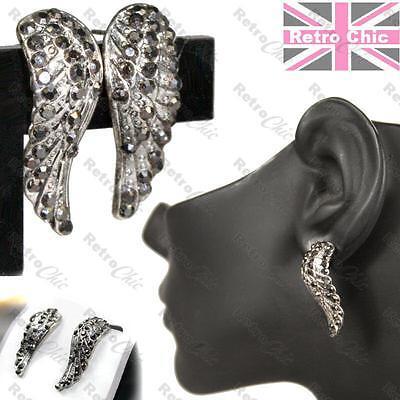 4cm BIG GLASS CRYSTAL art deco arc EARRINGS GREY//BLACK//DARK VINTAGE SILVER PLTD