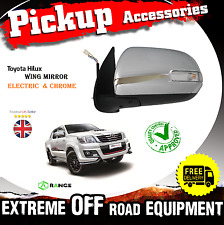 Toyota Hi-Lux Hilux Pick-Up 11-2015 Electric Wing Mirror Chrome Pair N/S Pas MK7