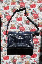 "Genuine Eel Skin Purse Handbag 12"" x 8"" Blue Made in Korea Vintage"