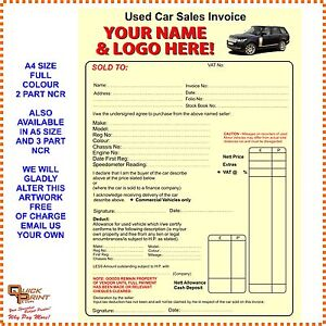 X A PART FULL COLOUR USED CAR INVOICE PADS ANY LOGO OR - Invoice x
