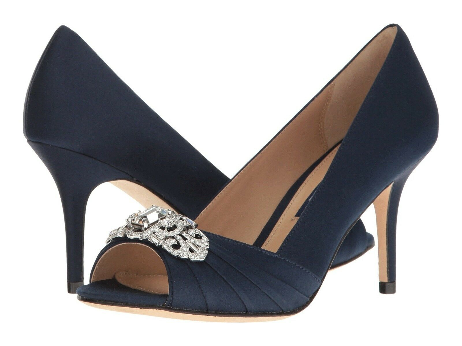 NIB Nina Verity Size 8.5 Navy Satin With Swarovski Crystals Peep Toe Pumps  229