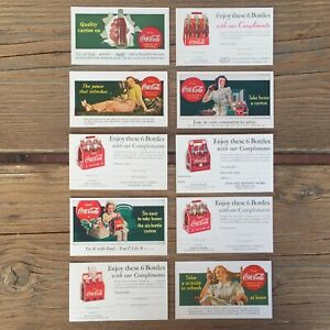 10-Original-1940s-COCA-COLA-SODA-Postcard-Collection-COKE-Ad-Coupon-Cards-NOS