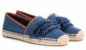 a8a8c353f56 new Tory Burch Shaw Denim Fringe Logo Espadrilles shoes flats Size ...
