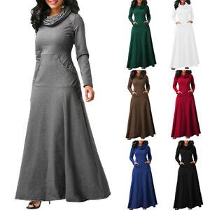 42f0f49dbeae Womens Cowl Neck Maxi Dress Casual Long Sleeve Loose Fall Winter ...