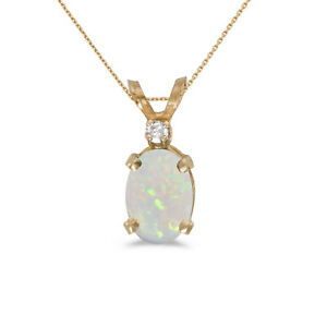 10k-Yellow-Gold-Oval-Opal-And-Diamond-Pendant-with-16-034-Chain
