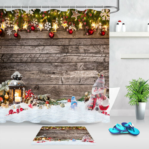 Rustic Wood New Year Decor Shower Curtain Mat Christmas Balls Stars Cute Snowman