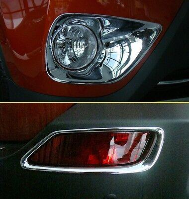 Front + Rear Fog Light Cover FOR Toyota RAV4 2013-2015 RAV 4 Chrome Lamp Trim