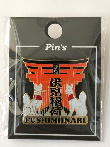 F//S Fushimi Inari Shrine Torii Gate Two White Fox Pin Badge Kyoto Japan
