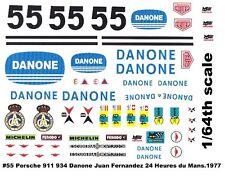 #55 JUAN FERNANDEZ Danone Porsche 911 1977 1/64th Scale Slot Car Decals