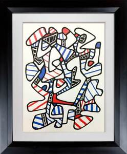 Jean-Dubuffet-LITHOGRAPH-Limited-EDITION-Abstract-Vacuum-Forms-1973-w-Frame