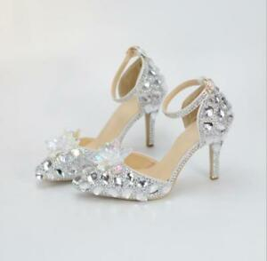 Mariée Chaussures Robe Trendy De Pointy Princesse Diamante Chic Toe Glitter YWYqtSw8