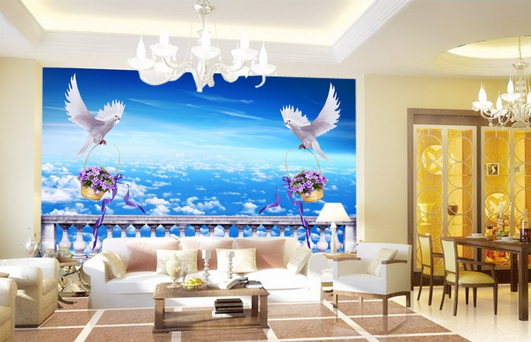 3D Taube Himmel Blaumenkorb 85 Tapete Wandgemälde Tapete Tapeten Bild Familie DE  | Creative  | Perfekt In Verarbeitung  | Am praktischsten