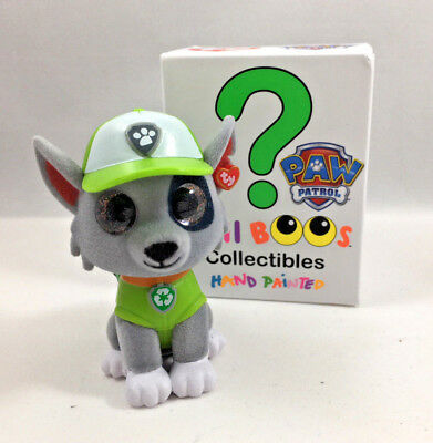 TY Beanie Boos Mini Boo ROCKY Paw Patrol Grey Dog Hand Painted Figure 2 inch