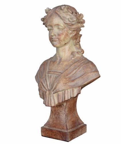 Gartenfigur Büste Mädchenkopf Shabby Chic Frauenbüste Landhausstil Gartenstatue