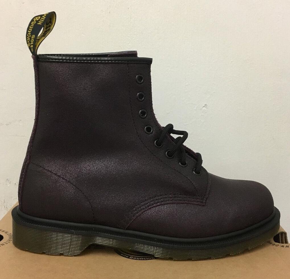 Dr. Martens 1460 botas De Cuero Gamuza Craquelado púrpura Talla