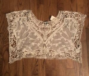 Forever-21-Off-White-Lace-Crochet-Babydoll-Top-Shirt-Blouse-Women-s-Sz-Small