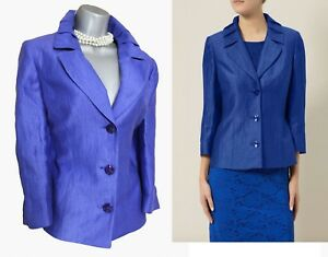 Petite Linen Jacket Eu38 Sleeves 4 Formal Crinkle Blue Precis Uk10 £159 Bright 3 TqZawdd0