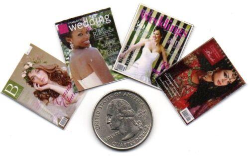 4 Miniature Wedding, Bride & Goom MAGAZINES  - Dollhouse  1:12 scale OPENING