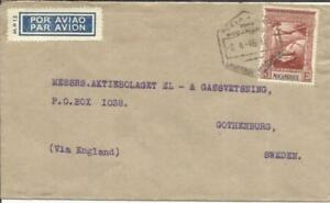 Mozambique Sc#C7(single frank) LOURENCO MARQUES 9/4/46 Airmail to SWEDEN