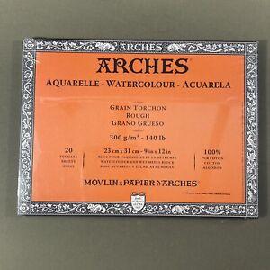 """Canson Arches Watercolor Paper Block 20 Sheets Rough 140 lb 100% Cotton 9x12"""""""