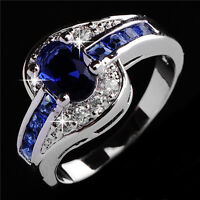 Size 5-13 Blue Sapphire CZ Engagement Ring Wedding Band 10KT White Gold Filled