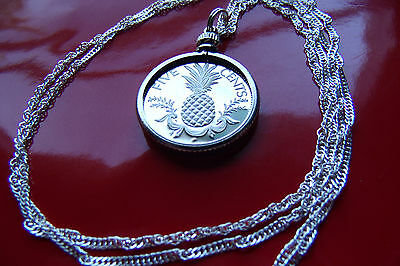 "Necklaces & Pendants Nice Bahamas Pineapple Proof Coin Pendant On A 30"" 925 Silver Wavy Twist Chain 23mm 100% Original Bahamas"