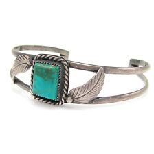 Lovely Navajo Handmade Sterling Silver & Turquoise Cuff Bracelet  | G I