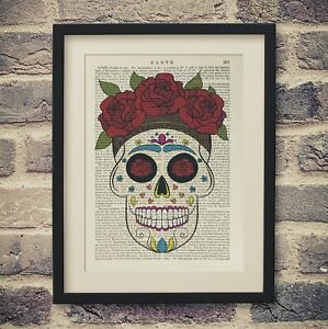 Flower-Sugar-Skull-Art-Vintage-Encyclopedia-Print-Antique-Dictionary-Book-Page