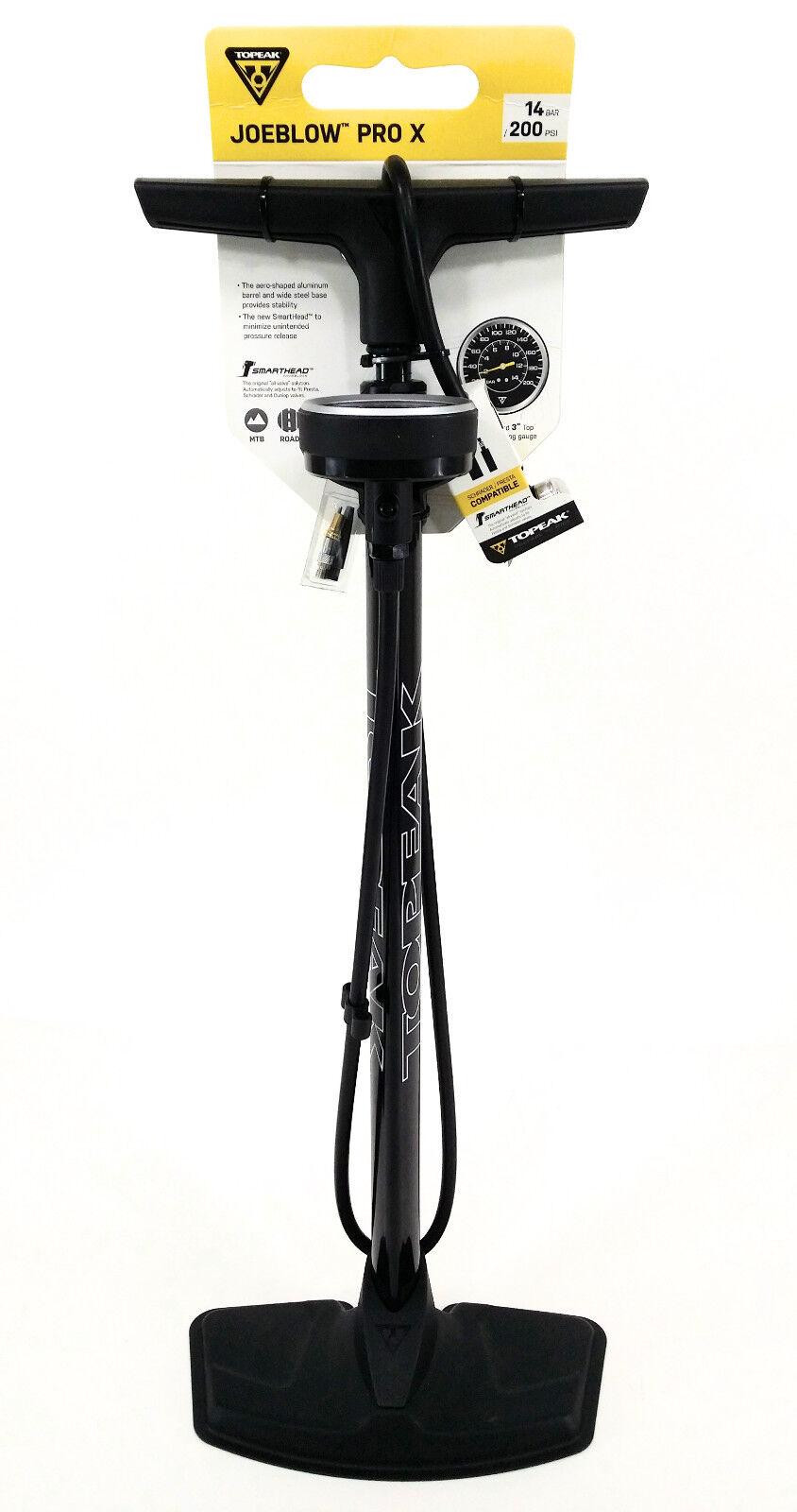 Topeak Joe Blow Pro X 200psi Floor Pump Smarthead DX Presta & Schrader Bike
