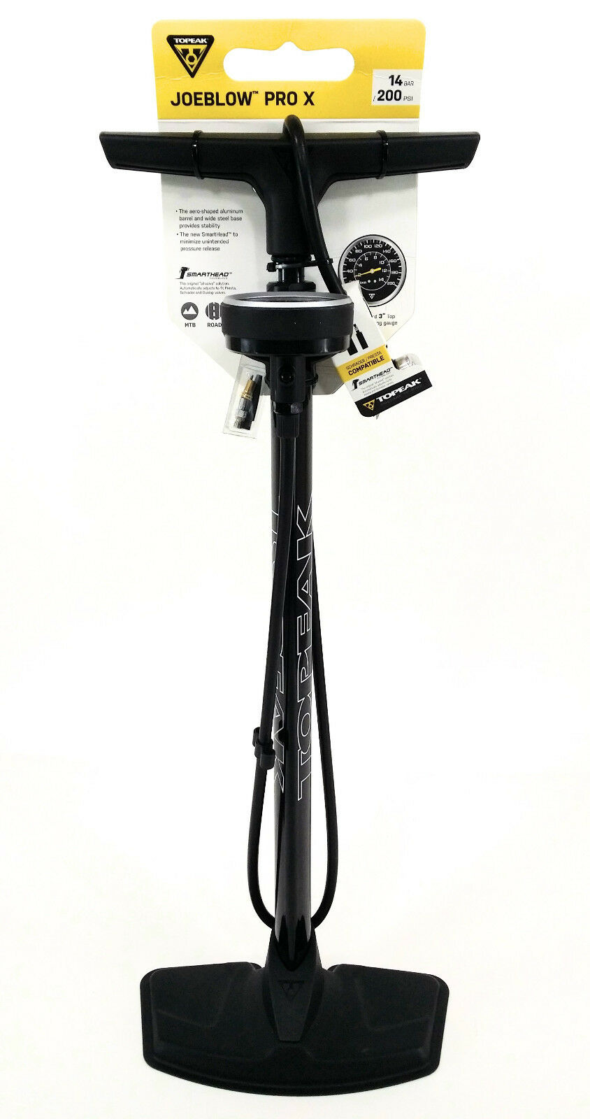 Topeak Joe Blow Pro X 200psi Bomba de pie Smarthead DX Presta & Schrader Bicicleta