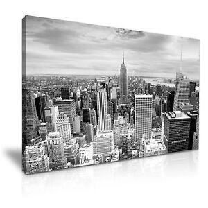 New-York-Manhattan-moderno-Pared-Arte-Cuadro-lienzo-Impresion-9-Tallas-Negro-Y-Blanco