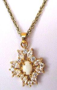 Superbe Collier Couleur Or Pendentif Opaline Cristaux Roche Navette Diamant 328 We7o3fp8-10114017-612990868