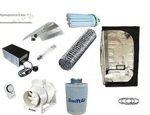 Hidropónica Grow Tent Kit Ventilador de Cochebono 4  Kit de Luz 125w 150w 250w CFL HPS