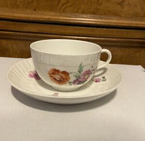 KPM Berlin Hand Painted Dresden Floral & Butterfly Tea Cup & Saucer