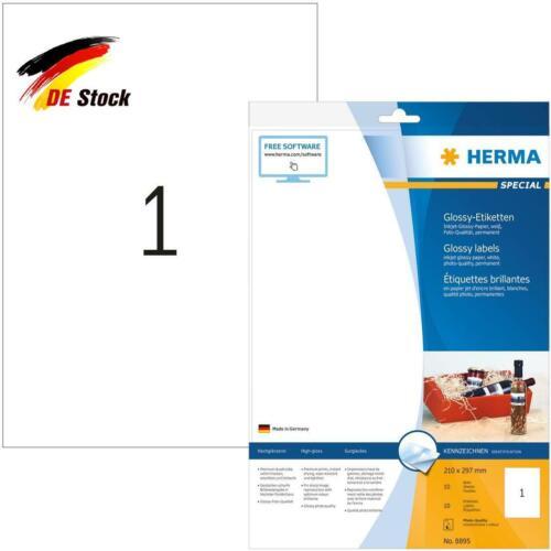 210 X 297 Mm, 10 Herma 8895 Hochglanz Etiketten Für Tintenstrahldrucker Din A4